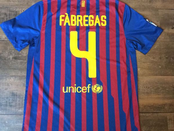 2011 2012 Barcelona Fabregas Home Football Shirt Adults Large